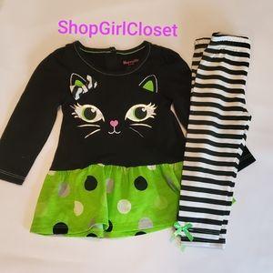 Nannette 2pc Halloween Outfit Black/Green sz 12M